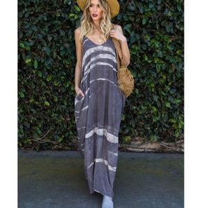 Gray & White Stripe Spoon-neck Maxi Dress